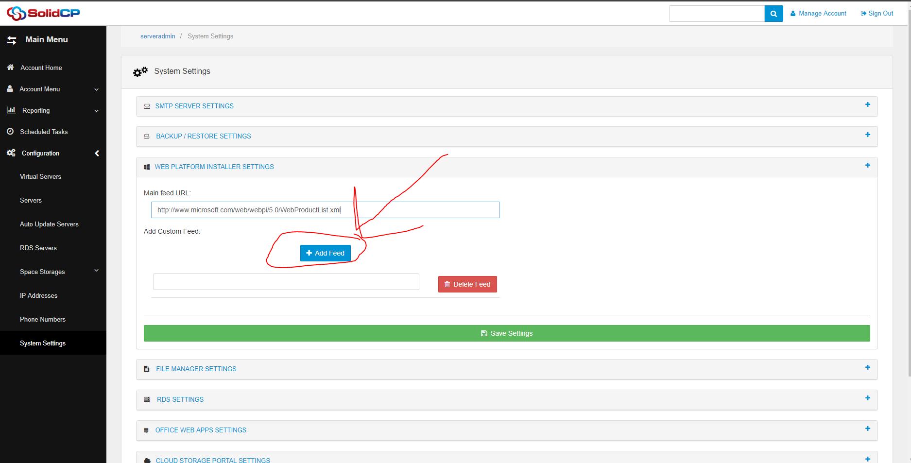 Web App Gallery Setup - SolidCP