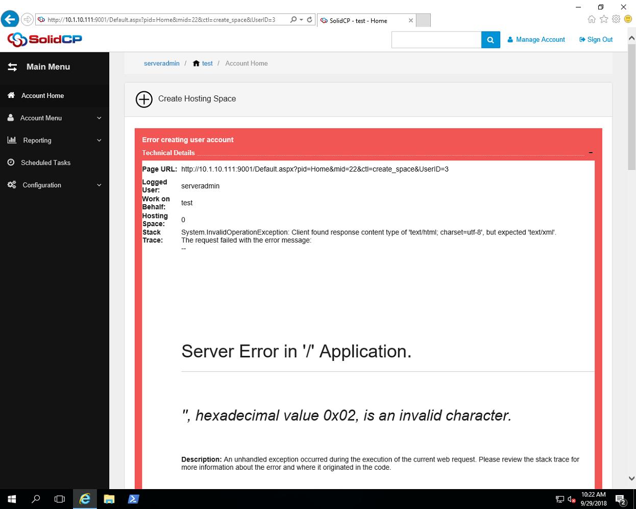 Error creating user account - SolidCP