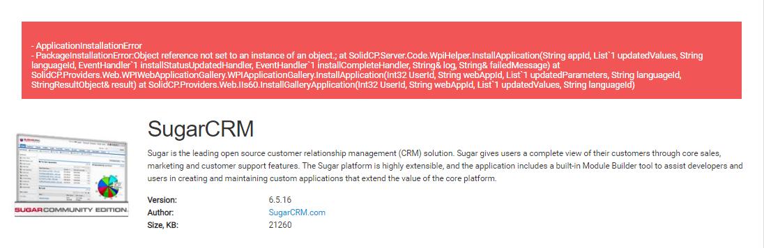 Error install Sugar CRM - SolidCP